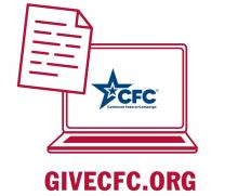 Computer with paper and GiveCFC.org