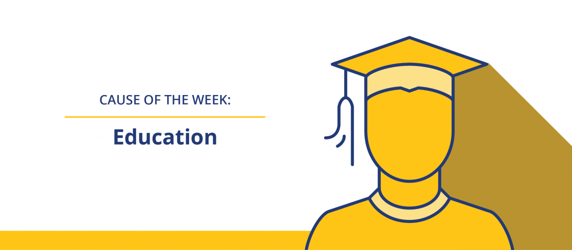 Education web banner - icon of grad in grad hat