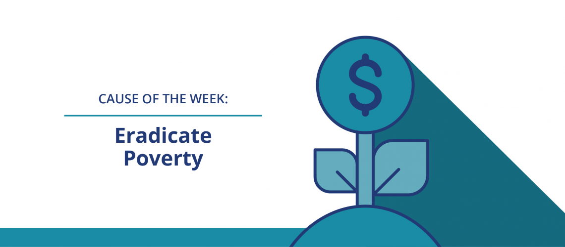 "Web banner of plant with a $ inside ""Eradicate Poverty"""